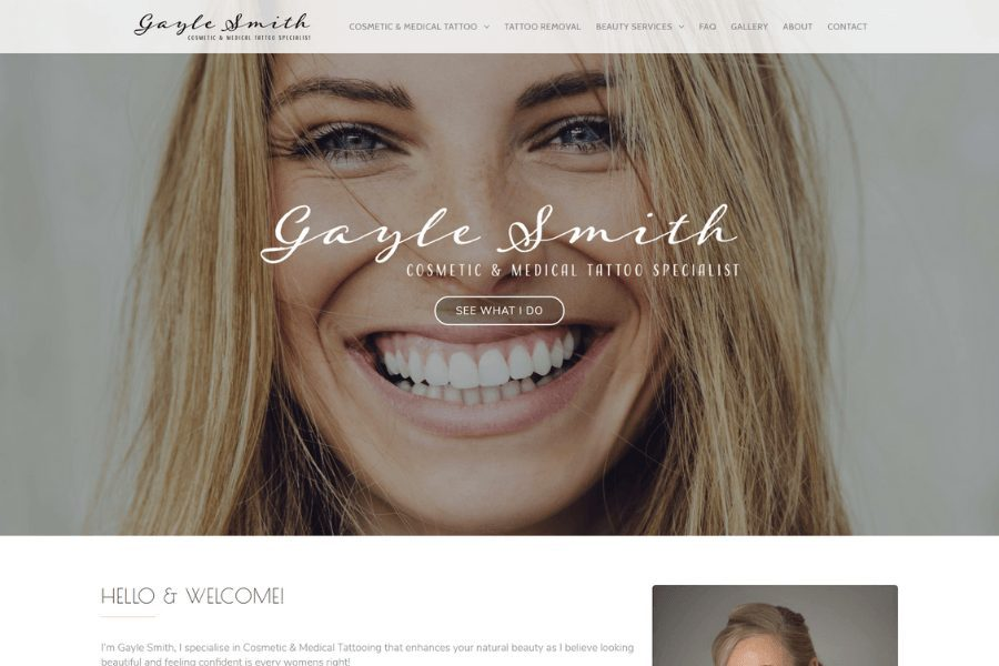 Gayle Smith - Cosmetic & Medical Tattoo Website